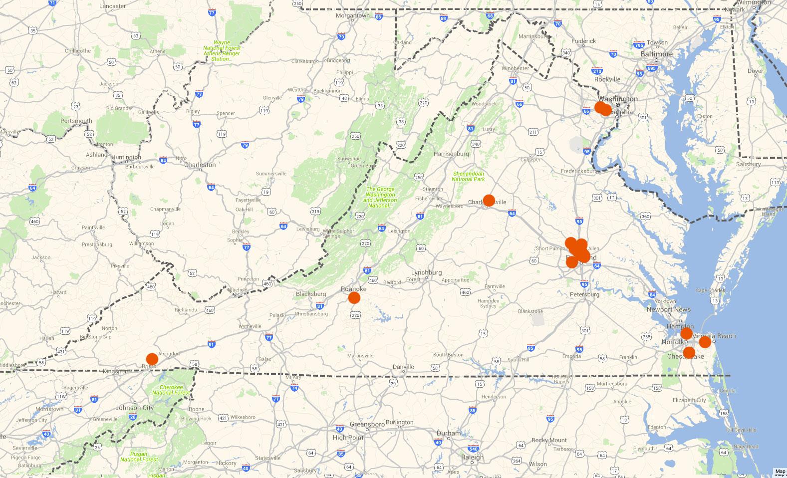 Virginia map of Donate Life members