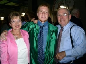Paul Harris with his mom and Dad at graduation