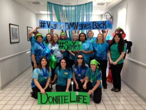 The Virginia DMV office with DOnate Life Banners: #VirginiaDMVgivesback #SayYes