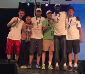 Rutger and his team claim the bronze medal for trivia at the 2016 Transplant Games.