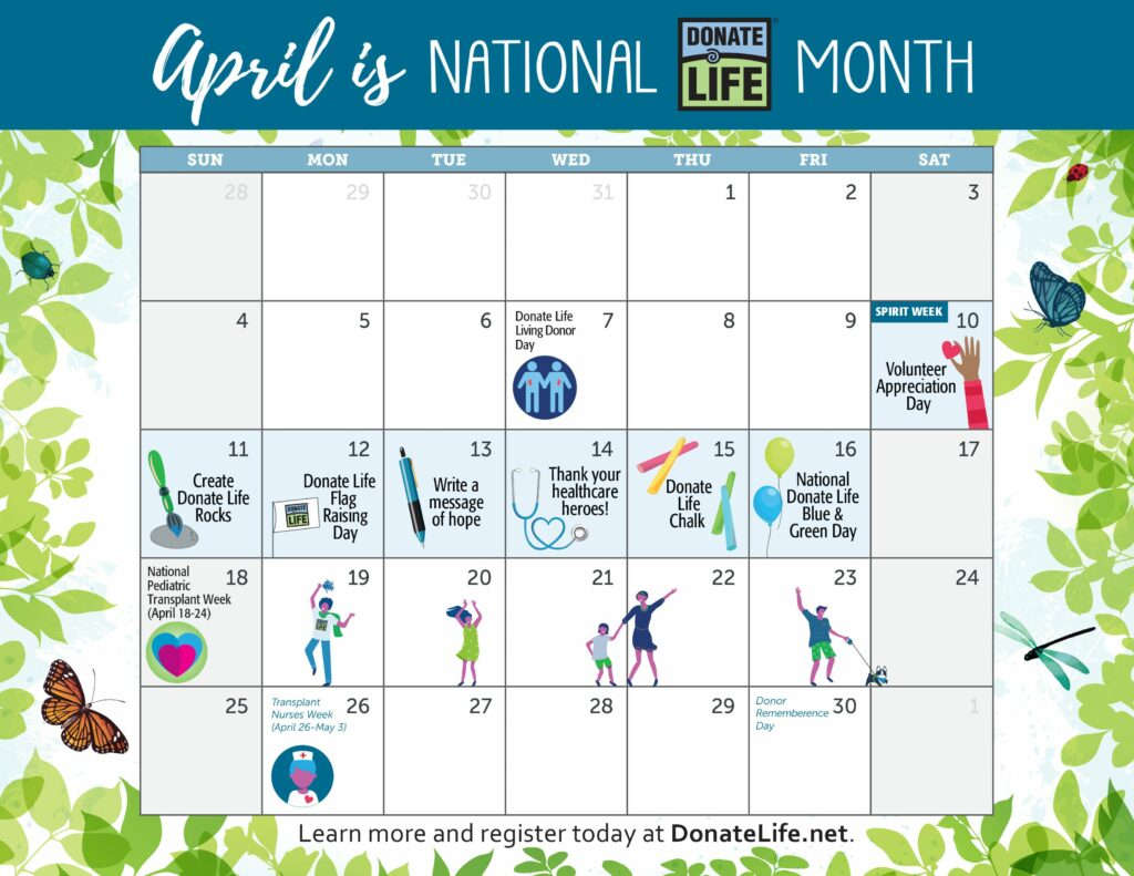 2021 National Donate Life Month Calendar